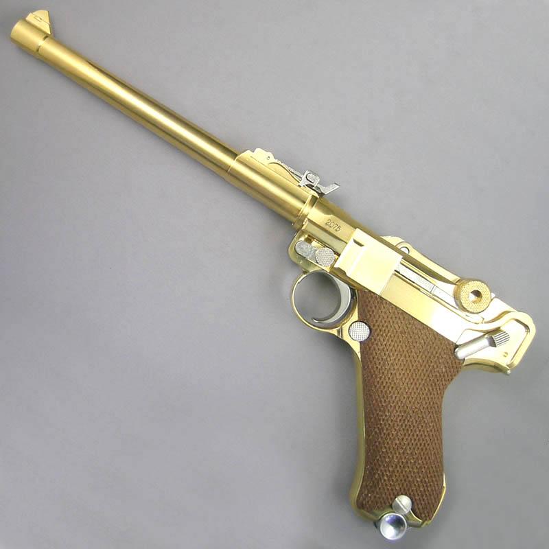画像1: ルガーP-08・8インチ[木製チェッカーグリップ仕様] 金属・ダミーカート式モデルガン(マルシン)