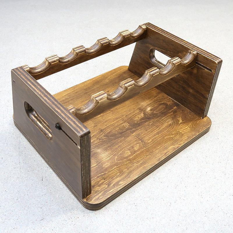 画像2: 変動型ハンドガン5挺掛ショートスタンド 木製(ファクトリーブレイン)