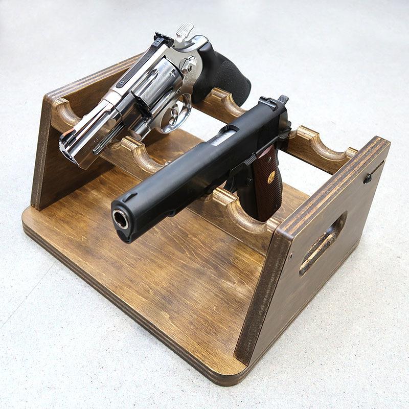 画像4: 変動型ハンドガン5挺掛ショートスタンド 木製(ファクトリーブレイン)