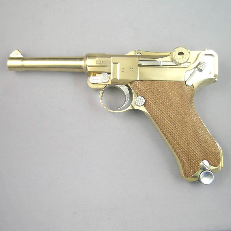 画像1: ルガーP-08・4インチ[木製チェッカーグリップ仕様] 金属・ダミーカート式モデルガン(マルシン)
